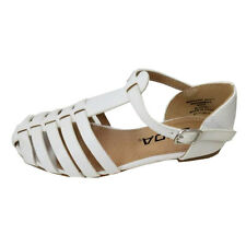 Girls Kids faux Leather Gladiator Weave summer sandal flats shoes