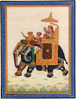 Mughal King And Queen Riding On Elephant Love Scene Handmade Indian Painting
