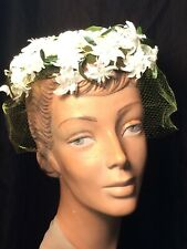 vintage Floral cap 60s hat Whimsy white Green veiling Cocktail bridal Ransohoffs