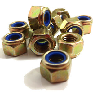 Metric Fine/Extra Fine Grade 10 High Tensile Zinc Yellow Nyloc Nuts M8 to M24