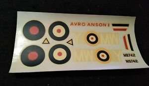 Vintage Airfix No. 289 Avro Anson 1 Waterslide Decals 1/72 1970s Model Kit