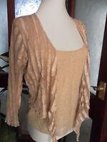 Per Una Two-Piece gold mesh Bolero Top and Camisole/Vest Set 14 BNWT £35