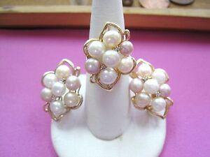 GORGEOUS Vintage 14k Yellow Gold Pearl Ring sz6.25 & Earrings Set Diamond accent