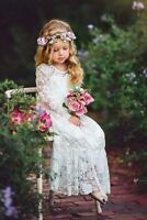 White Ivory Lace Boho Flower Girl Dresses 2019 First Communion Dress Party Gown