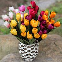 AU_ 9 Head Fake Tulip Artificial Silk Flower Bouquet Home Office Wedding Party D