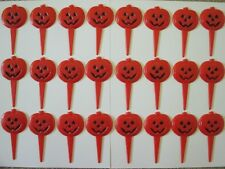 24 WILTON 1983 PLASTIC HALLOWEEN ORANGE PUMPKIN CAKE TOPPER PICKS DECORATIONS