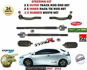FOR HONDA CIVIC TYPE R 2006-> 2x INNER + 2x OUTER TRACK RACK TIE ROD END + BOOTS
