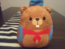 """Nwt Squishmallow Chip the Beaver """"Back to School"""" 8 Inches Plush Kellytoy Brown"""