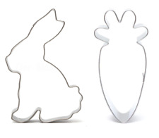 Bunny Rabbit & Carrot Shape Cookie Cutter Metal Cake Biscuit Pastry Mould Set