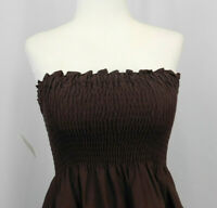 NEW Wet Seal Brown Strapless Smocked Cutwork Embroidery Dress Size Medium