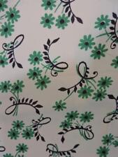 "VTG 1940s Rayon Fabric Dress Yardage Green Flowers 3yds 38"" Wide"