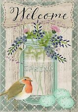 "Springtime Welcome Floral Garden Flag Bird Eggs Mason Jar 12.5"" x 18"""