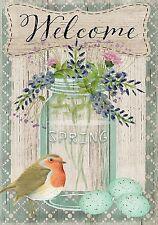 """Springtime Welcome Floral Garden Flag Bird Eggs Mason Jar 12.5"""" x 18"""""""