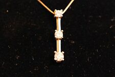 "Three Stone Diamond Pendant Necklace 18"" 14K Yellow Gold Box Chain Spring clasp"
