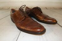 Ecco Mens Leather Brown Shoes Tie Dress Size 46 Euro Oxford US Size 12