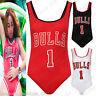 Ladies Women's Celeb Bulls 1 Print Sleeveless Jersey Bodysuit Leotard Top 8-14