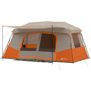 X Large Instant Cabin Tent 11 Person with Private Room 6 Windows 76in H Orange