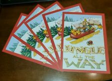 5 Mary Engelbreit Christmas Cards, Jingle All the Way, mice in shoe sled.