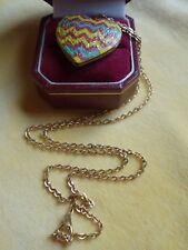 Vintage 60s - 70s Boho hand-painted customised gold-tone heart locket necklace