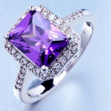 Anniversary  White Gold Plated Purple Cubic Zircon Gemstone Rings X0039 Size 10