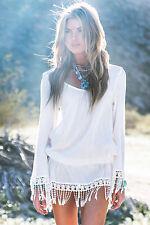Sexy Strandkleid Beachdress Tunika Bluse im Boho Hippie Style weiß mit Fransen