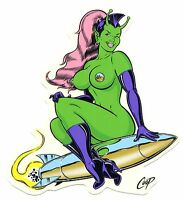 SEXY ALIEN GIRL sitting on rocket STICKER by Coop **Free Shipping** window decal