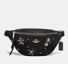 Coach Gemstone Pebble Leather Belt Bag Floral Bee Black NWT F72831 MSRP $398