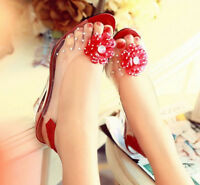 Party Candy Womens Wedge Heel Pumps Open Toe Floral Slingback Plus Size Shoes
