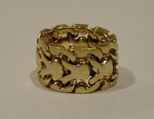 14K Yellow Gold Brushed Chunky Flexible Curb Link Ring, Size 7 1/4, 19.4g