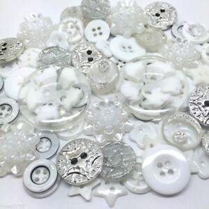 80 Deluxe Ice White Button, Flatback, Embellisments Mix Craft Cardmaking Random