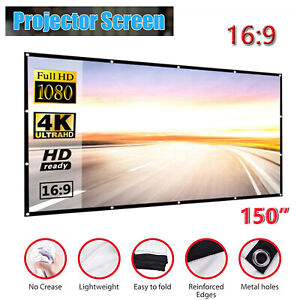"""150"""" Foldable Projector Screen Portable Outdoor Home 3D Movie Cinema 16:9"""