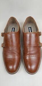Steve Madden Monk Strap Brown leather Slip-on Loafers Men's Size 9 M F825