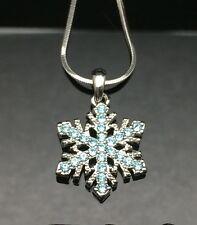 BLUE Crystal Snowflake Pendant Frozen Necklace Flower Girl Wedding Swarovski