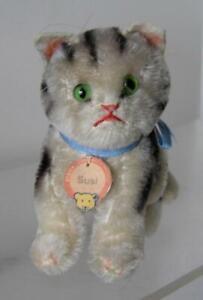 "Vintage sitting Original Steiff Susie Tabby CAT sitting with swivel head 4"" tall"