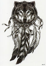 Wolf Tier Wild Traumfänger Temporary Temporäre Klebe Einmal Tattoo 15x21cm HB577