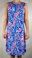 Hilo Hattie Womens Hawaiian Dress Blue Pink Tropical Leaves Midi Sleeveless Sz M