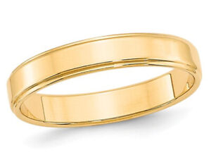 14K Yellow Gold 4mm Flat Wedding Band with Step Edge
