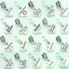 Personalised Family Charm Clip On or Bail Fits Ladies Girls Bracelet Necklace