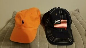 POLO RALPH LAUREN Lot of (2) Caps Hats Navy Flag and Orange Adjustable one size