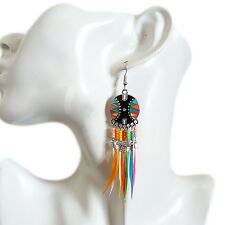 Vintage Indiana Bohemian Colorful Feather Rheinstone Dangle Drop Long Earrings