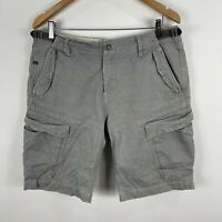 Industrie Mens Cargo Shorts 34 Grey Zip Closure Pockets