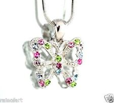 Color Wings Necklace Jewelry Pendant Made With Swarovski Crystal Butterfly Multi