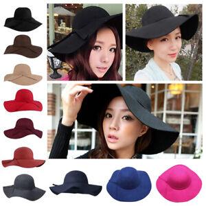 Vintage Women Girls Kids Wool Wide Brim Hat Bowler Fedora Floppy Beach Sun Cap