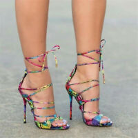 Fashion Women Stiletto Strappy Sandals Open Toe Lace Up Club Heel Shoes Big Size