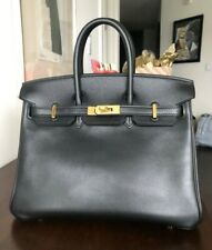Hermes Birkin 25 cm Black Togo Leather Bag Palladium Hardware