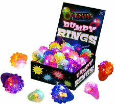 Flashing LED Light Up Toys, Bumpy Rings,18-Pack, Kids Birthday Party Favor - New