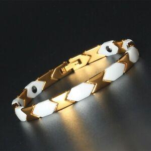 Gold White Tone Titanium Energy Bracelet Power Magnets Pain Relief for Arthritis
