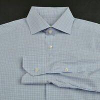 ERMENEGILDO ZEGNA x GRITTI Blue Plaid 100% Cotton Luxury Dress Shirt - 15.5