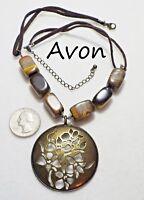 AVON Tigers Eye Beads & Brasstone Flower Cut-Out Medallion Pendant Necklace 2007