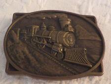 "BTS Locomotive Train Solid Brass Belt Buckle Vintage 3.25"" 2.5"""